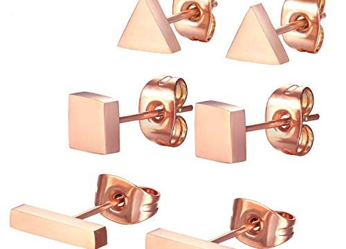 SPINEX 3 Pairs Stainless Steel Rose Gold Stud Earring Set Pierced Rectangle, Square, Triangle