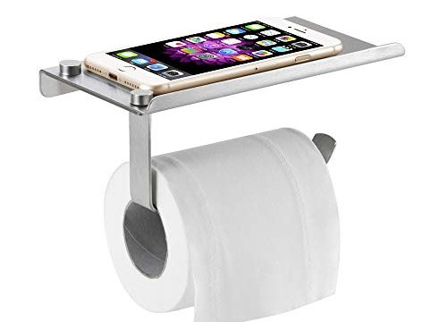 Bosszi Wall Mount Toilet Paper Holder, SUS304 Stainless Steel Bathroom Tissue Holder with Mobile Phone Storage Shelf, Brushed Aluminum