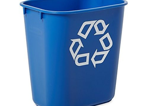 Rubbermaid Commercial Products FG295573BLUE Plastic Resin Deskside Recycling Can, 3.5 Gallon/13 Quart, Blue Recycling Symbol Pack of 12