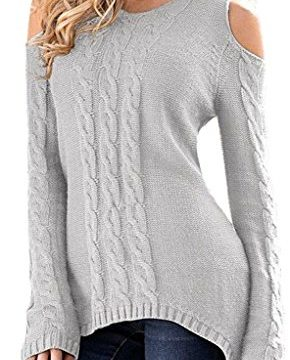 Merryfun Women's Cold Shoulder Sweater Fall Long Sleeve Knit Pullover Tops LGrey,XL