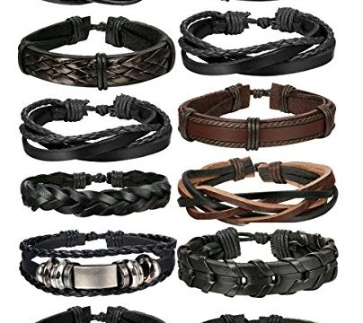 FIBO STEEL 12 Pcs Braided Leather Bracelets for Men Women Cuff Bracelet,Adjustable