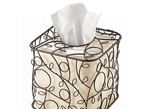 InterDesign Twigz Plastic and Metal Facial Tissue Box Cover, Boutique Container for Bathroom Vanity Countertops, 6″ x 6″ x 6″, Bronze and Vanilla