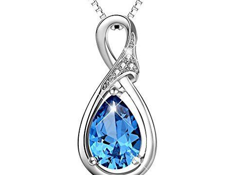 POPLYKE Infinity Necklace Sterling Silver Teardrop Pendant Necklace for Women Girls