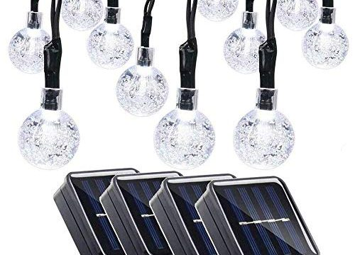 Qedertek 4 Pack Globe Solar String Lights, 19.7ft 30 LED Fairy Lights, Outdoor Solar Lights for Home, Gazebo, Patio, Lawn, Garden, Party and Holiday DecorationCool White