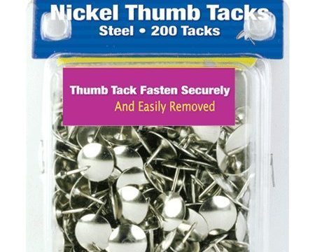 6Pk, Bazic Nickel Thumb Tack, Silver, 200 Per Pack, Resists Rust 1200 in Total