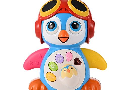 ThinkMax Baby Penguin, Kid Musical Penguin Toys, EQ and Intelligence Training, Battery Operated with Swing, Walking, Light, Voice Answers, Best Toys for Babies