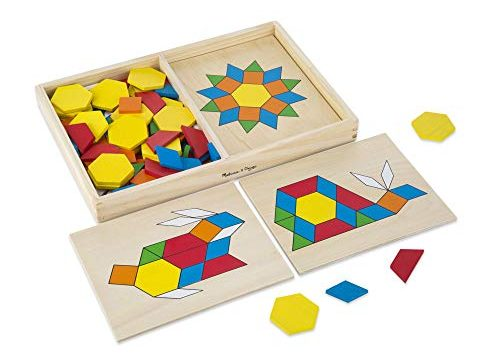 Melissa & Doug Pattern Blocks and Boards Classic Toy Developmental Toy, Wooden Shape Blocks, Double-Sided Boards, 120 Shapes & 5 Boards