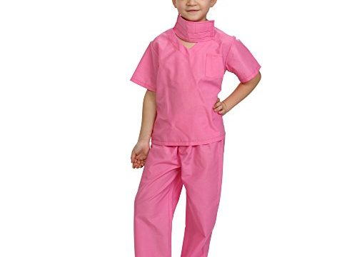 Dress Up America Pink Children Doctor Scrubs Toddler Costume Kids Doctor Scrub's Pretend Play Outfit