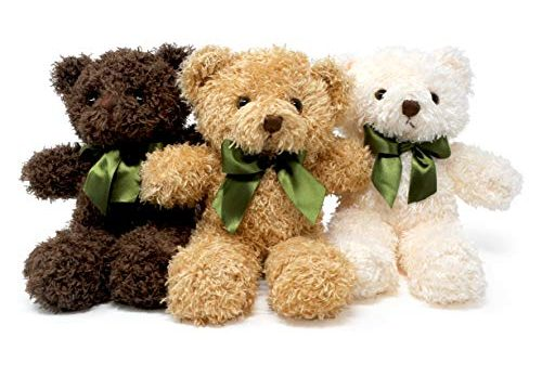 Stuffed Animal in 3 Colors – Pluffins Teddy Bear Plush – 3-Pack