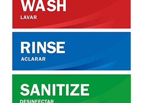 Wash Rinse Sanitize Sink Labels, Premium Waterproof Sticker Signs for Restaurants, Commercial Kitchens, Food Trucks, Bussing Stations, Dishwashing or Wash Station, Ideal for Three Compartment Sink