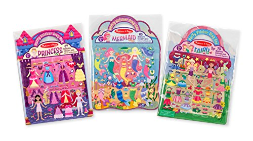Melissa & Doug Puffy Sticker Activity Books Set: Princess, Mermaid, Fairy – 180+ Reusable Stickers