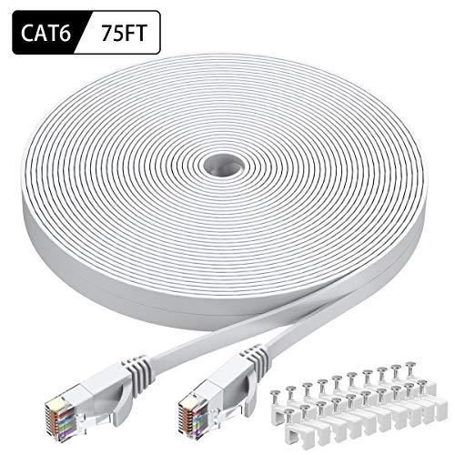 Top 10 Cat6 Ethernet Cable 75 ft White, BUSOHE Cat-6 Flat Rj45 – Cat 6 Ethernet Cables
