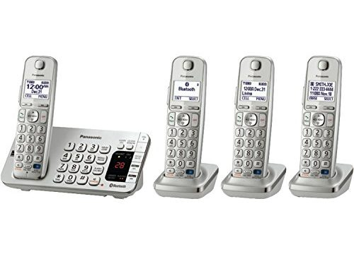 Panasonic Link2Cell Bluetooth KX-TGE274S 4 Handsets – Corldess Phone with Large Keypad, Silver