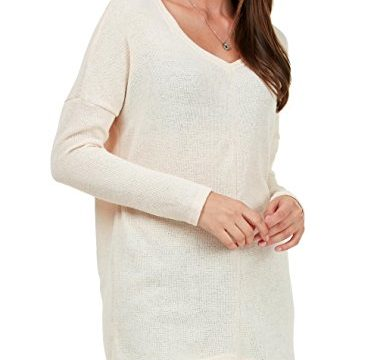 Fidus Women's Long sleeve V Neck Soft Knitted Casual loose Tunic Sweatshirt Tops T-shirt Blouse,F5,Apricot,L