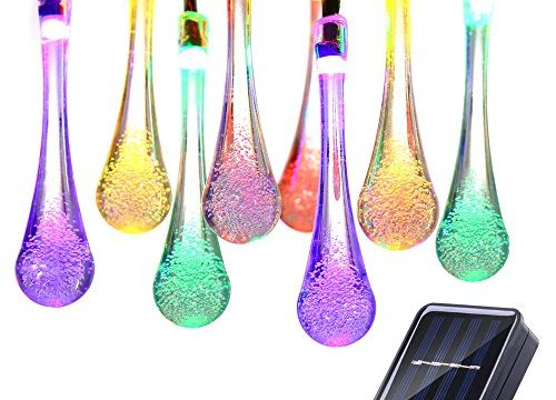 Icicle Solar String Lights, 15.7ft 8 Light Modes 20 LED Water Drop Fairy String Lighting for Indoor/Outdoor Home, Patio, Lawn, Garden, Party, Christmas, and Holiday Decorations Multi-color
