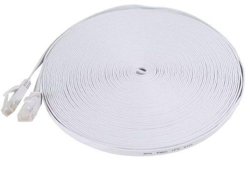 Fosmon 50 Feet – Ultra Speed Gigabit – White RJ45 Cat6 Snagless Ethernet Patch Cable Flat Tangle Free – Modem / Router / LAN / Printer / Mac / Laptop
