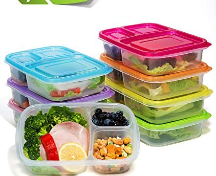 Meal Prep Containers 3 Compartment,7 Pack Bento Lunch Box Portion Control,Food Storage with Lids,Stackable,Reusable,Microwave,Dishwasher,Freezer Safe26oz