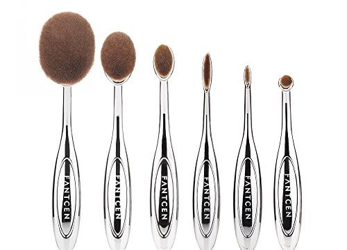 FANTCEN Foundation Oval Makeup Brush Set Powder Brush Set of 6 Silver