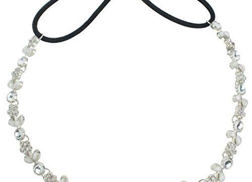 Onwon New Fashion Silver Rhinestone Crystal Flower Hair Band Elastic Headband For Women/Lady/Girl