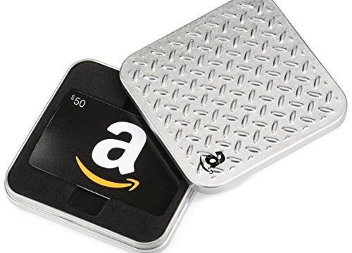 Amazon.com $50 Gift Card in a Diamond Plate Classic Black Card Design