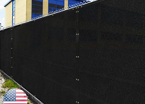 Windscreen4less Heavy Duty Privacy Screen Fence in Color Solid Black 6′ x 50′ Brass Grommets w/3-Year Warranty 150 GSM Customized Sizes Available