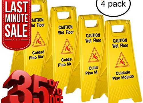 Tiger Chef Yellow Wet Floor Caution Sign, 2-sided Fold-out, Floor Safety Sign, Caution Wet Floor 24-inch By 12-inch Cuadado Piso Mojado 4 Pack