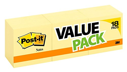 654-14+4YW – Post-it Notes,  America's #1 Favorite Sticky Note, 3 in x 3 in, Canary Yellow, 14 Pads/Pack + 4 Free Pads, 18 Pads Total, 100 Sheets/Pad