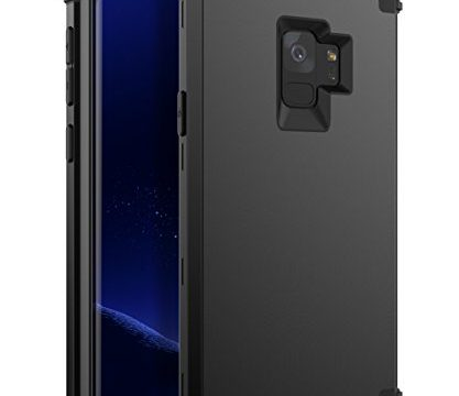 XIQI Samsung Galaxy S9 Case Three Layer Hybrid Heavy Duty Shockproof Impact Defender Bumper Anti-Scratch Protective Case Cover for Galaxy S9 2018,Black