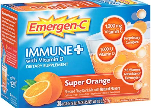 Emergen-C Immune+ 30 Count, Super Orange Flavor System Support Dietary Supplement Fizzy Drink Mix With Vitamin D, 1000mg Vitamin C plus Antioxidants & Electrolytes, 0.33 Ounce Packets