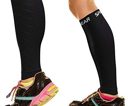 Increase Circulation – Best Footless Compression Socks for Shin Splints, Running, Leg Pain, Nurses & Pregnancy – M/L – BLK S/M – Physix Gear Sport Compression Calf Sleeves for Men & Women 20-30mmhg