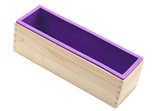 B&S FEEL Flexible Rectangular Soap Silicone Mold with Wood Box for Homemade 42oz Soap Produce
