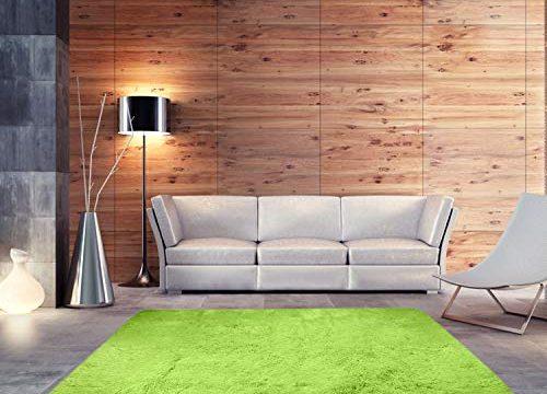 BlueSnail Super Ultra Soft Modern Shag Area Rugs, Bedroom Livingroom Sittingroom Floor Rug Carpet Blanket for Children Play Home Decorate 4′ x 5.3′, Rectangle, Apple Green