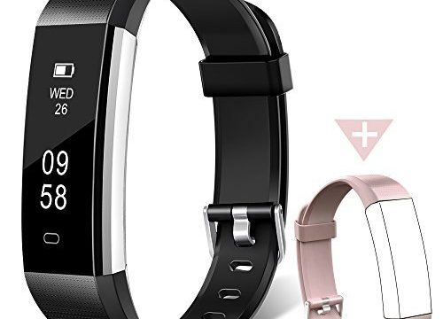 Fitness Tracker Watch, Homogo H2 Fitness Watch Activity Tracker with Sleep Monitor, Smart Pedometer for Step Distance Calories Track Black+Pink Band ¡