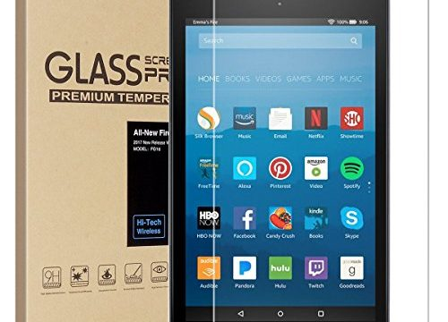 All-New Fire HD 8 Screen Protector,Tempered Glass Screen Protector Film for All-New Fire HD 8 Tablet with Alexa 7th 2017 Release 9H Hardness Crystal Clear Bubble Free