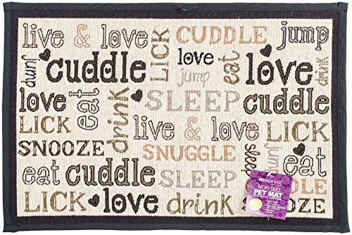 PetRageous Designed Tapestry Placemat for Pet Feeding Station, 13-Inch by 19-Inch, Cuddle, Natural/Black