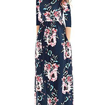 Lovezesent Women's Short Sleeve Criss Cross Back Floral Print Maxi Casual Dress