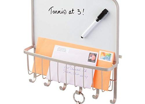 Strong Steel Wire Design – mDesign Metal Wall Mount Entryway Storage Organizer Mail Basket with Dry Erase Board, 6 Hooks – Satin – Holder for Letters, Magazines, Keys, Coats, Leashes