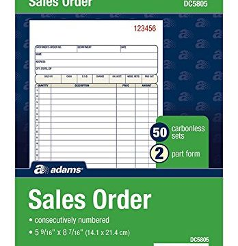 Adams Sales Order Book, 2-Part, Carbonless, White/Canary, 5-9/16 x 8-7/16 inches, 50 Sets per Book DC5805 12 Pack