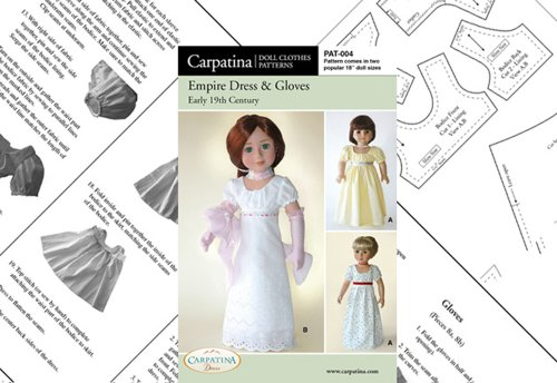 Pattern for Empire Dress Paper – fits 18″ American Girl Dolls
